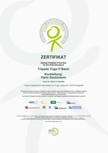 Zertifizierung Zentrale Prüfstelle Prävention Yoga